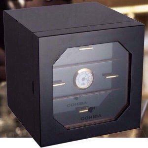 Hộp giữ ẩm 3 ngăn có trang bị đồng hồ đo độ ẩm màu đen