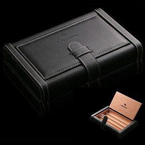 Bao da đựng Cigar (xì gà) Cohiba chất liệu da, gỗ tuyết tùng chính hãng