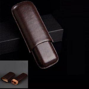 Bao da đựng Cigar (xì gà) Cohiba chất liệu da loại 2 điếu chính hãng