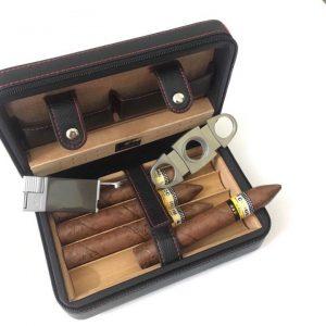 Set hộp giữ ẩm xì gà 4 điếu có dao cắt và bật lửa Cohiba