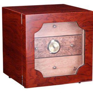 Hộp giữ ẩm 3 ngăn có trang bị đồng hồ đo độ ẩm Vân Gỗ